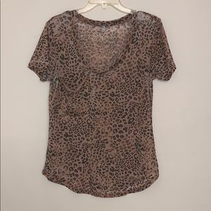 Z Supply Leopard Animal Print Pocket V -neck Sz. S